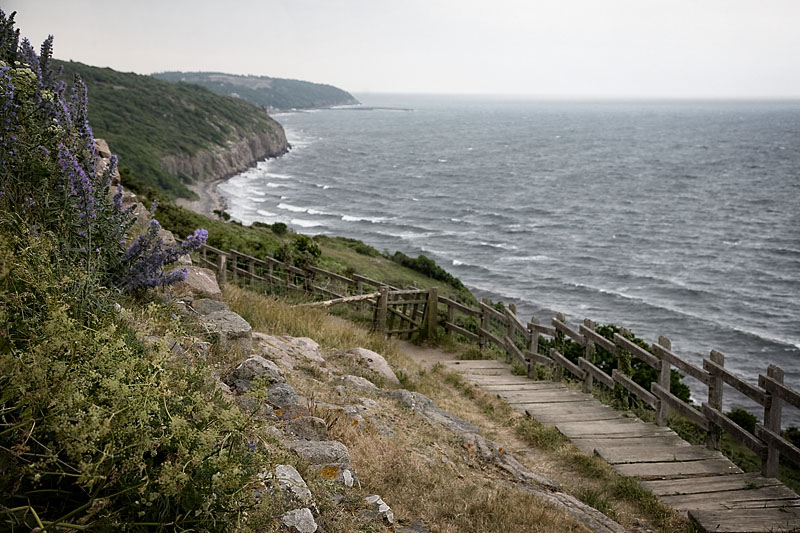 View down the coast from Hammershus, Bornholm